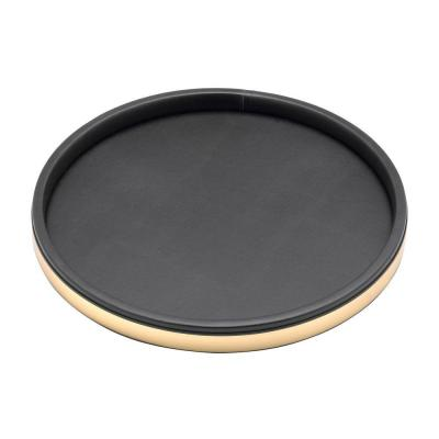 Sophisticates 14 in. Black Vinyl and Polished Brass Round Serving Tray (Case of 12)