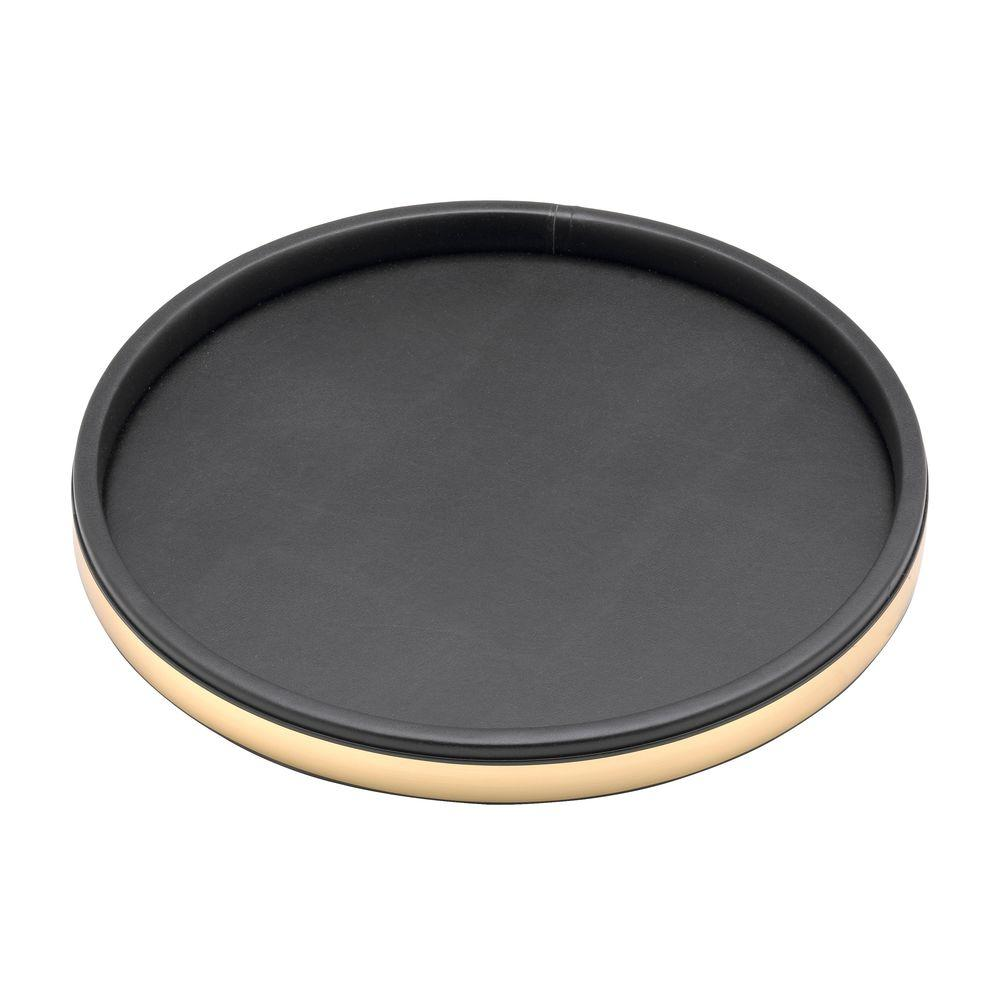Kraftware Sophisticates 14 in. Serving Tray in Black w/Polished Brass