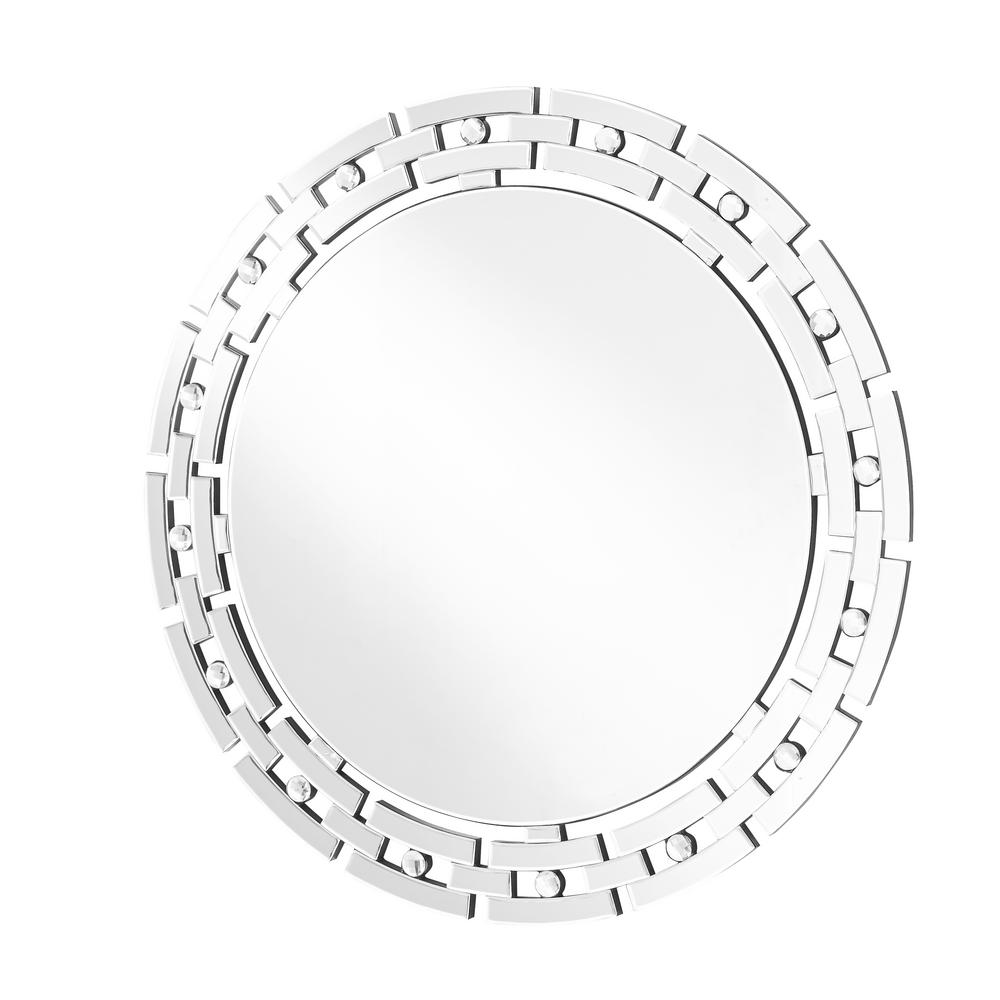 Emory 36 in. Contemporary Round Mirror with Clear MDF Frame, Round