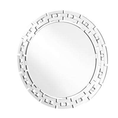 Emory 36 in. Contemporary Round Mirror with Clear MDF Frame, Round Shape, Mounting Type: D Ring