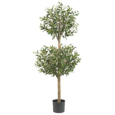 4.5 ft. Green Olive Double Topiary Silk Tree