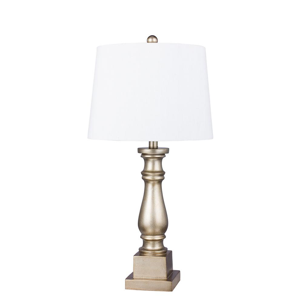 Traditional 28 in. Champagne Gold Resin Column Table Lamp