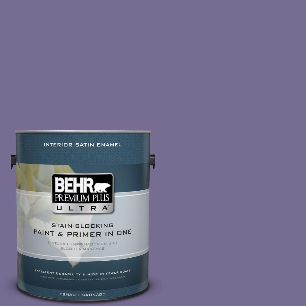 1 gal. #650D-6 Purple Silhouette Satin Enamel Interior Paint and Primer