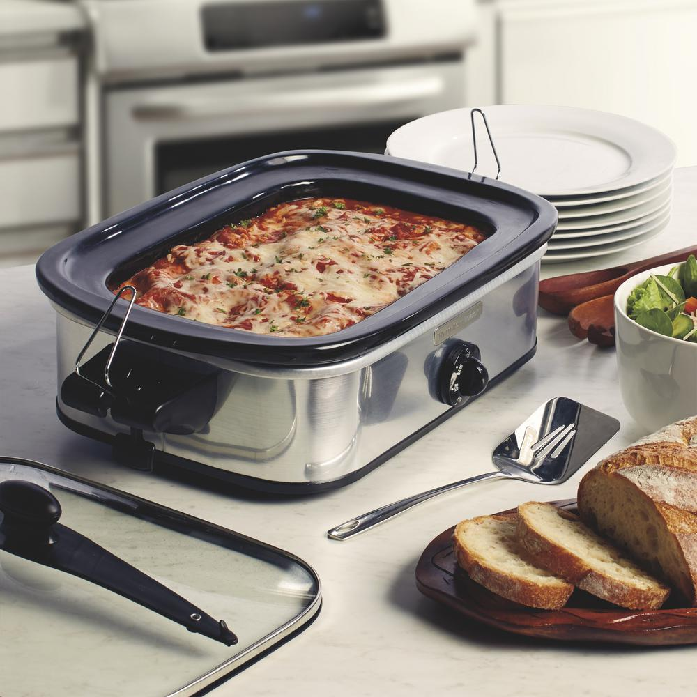 Casserole Slow Cooker, Silver The 3.5 Qt. capacity is big enough to handle 8 to 10 servings of casserole or a 3.5 lb. roast. Stay or Go clips on the lid keep liquids inside where they belong. Cleanup is easy because the inner stoneware dish is removable and dishwasher safe. Color: SILVER.