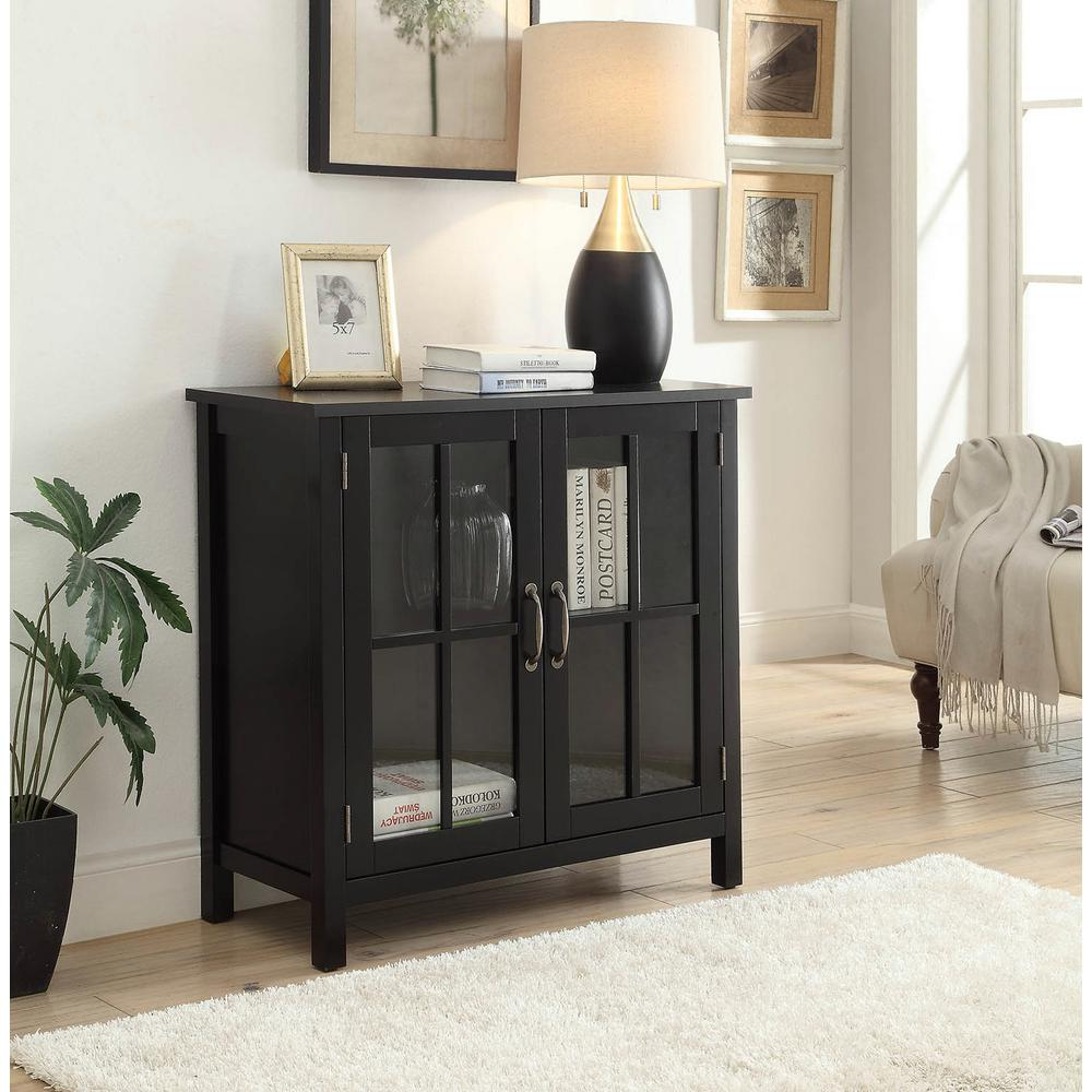 Usl Olivia Black Accent Cabinet And 2 Glass Doors Sk19087c2 Bk The