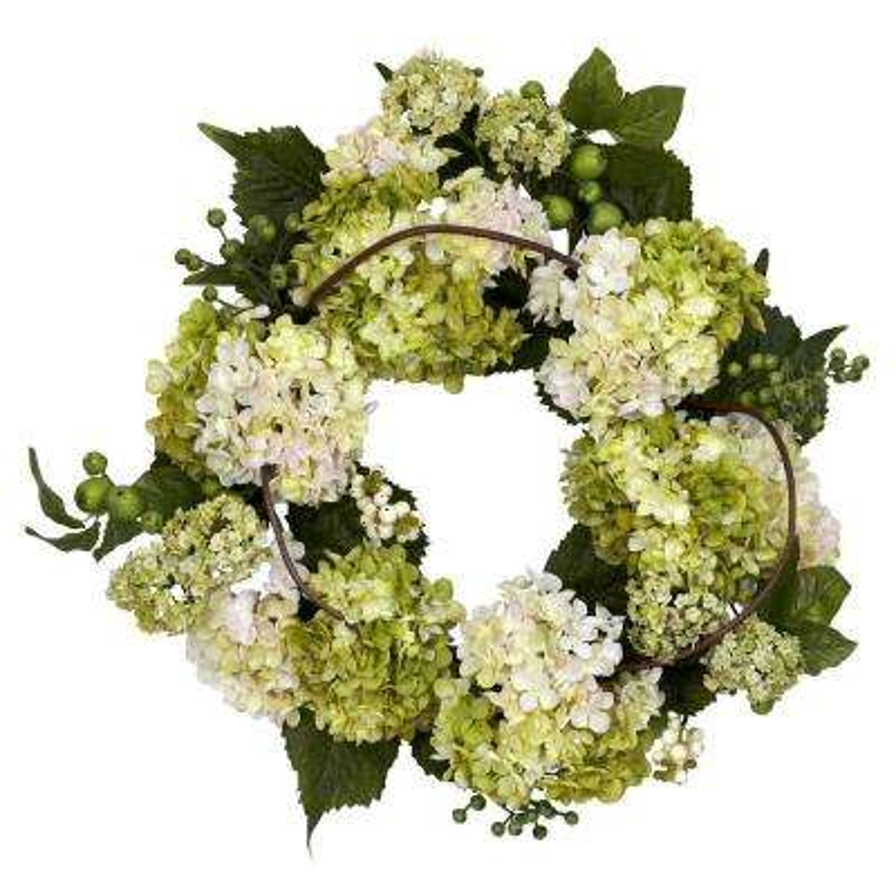 22.0 in. H Cream and Green Hydrangea Wreath
