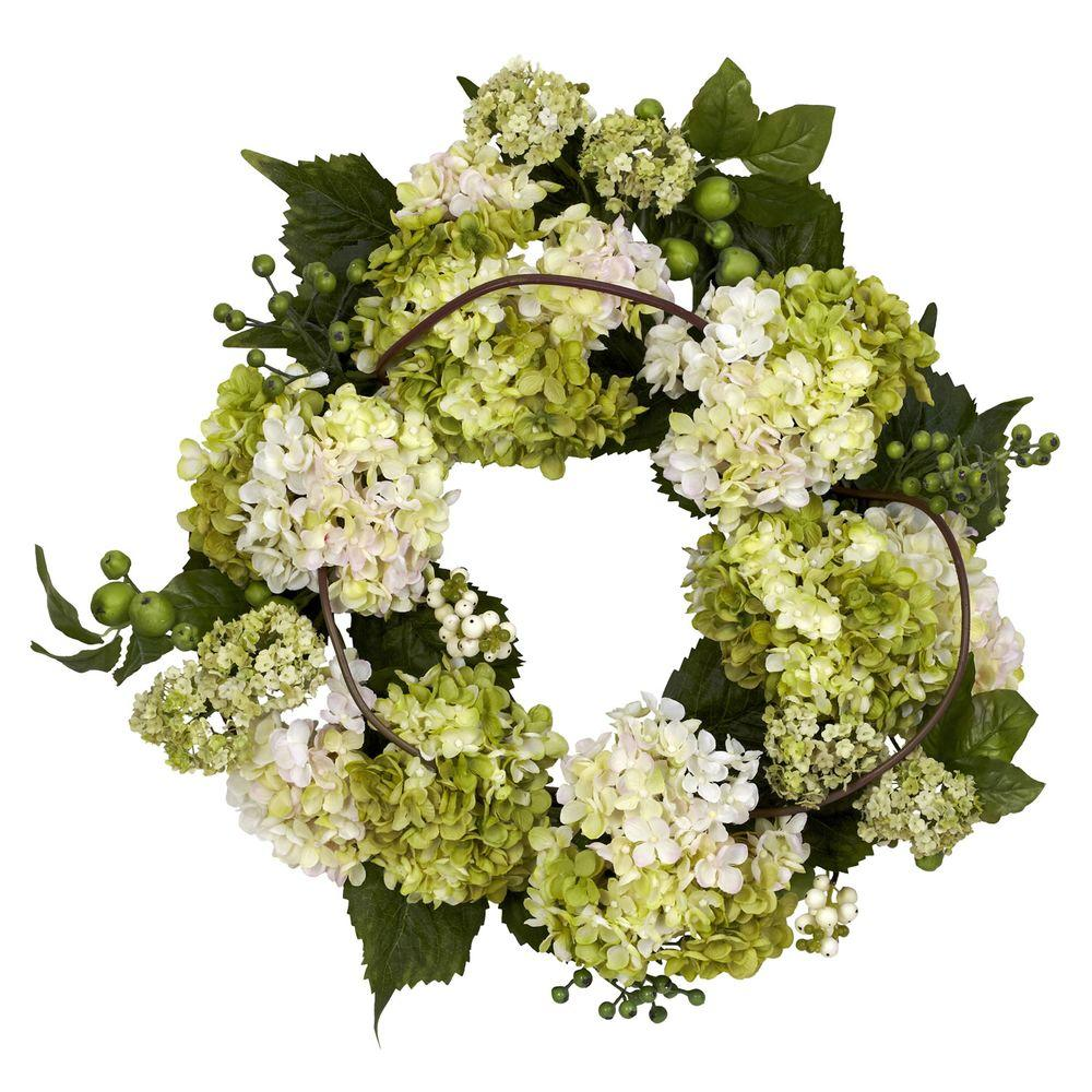Nearly Natural 22.0 in. H Cream and Green Hydrangea Wreath