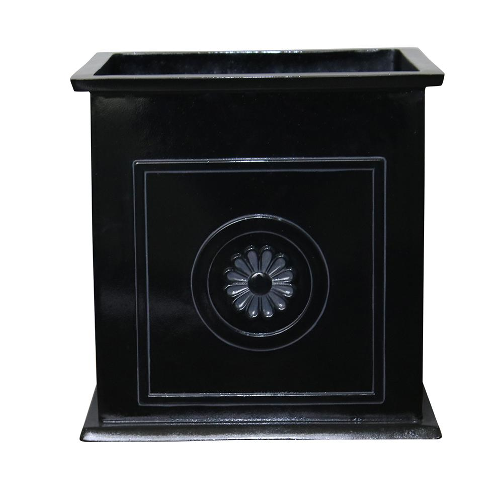 Colony 16 in. Dia Black Resin Composite Square Planter