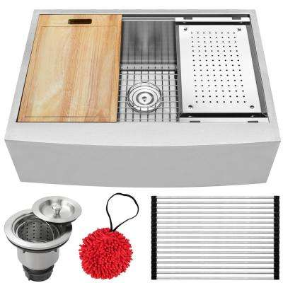 Bryce Zero Radius Farmhouse Apron Front 16-Gauge Stainless Steel 30 in. Single Basin Kitchen Sink with Accessory Kit