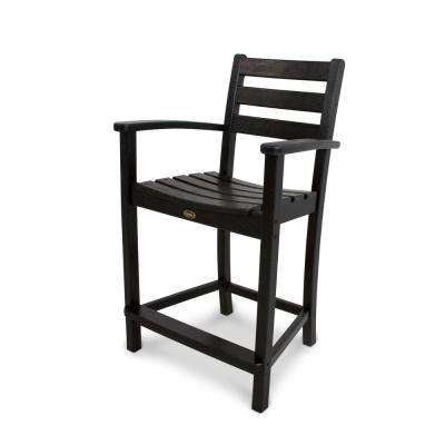 Monterey Bay Charcoal Black Patio Counter Arm Chair