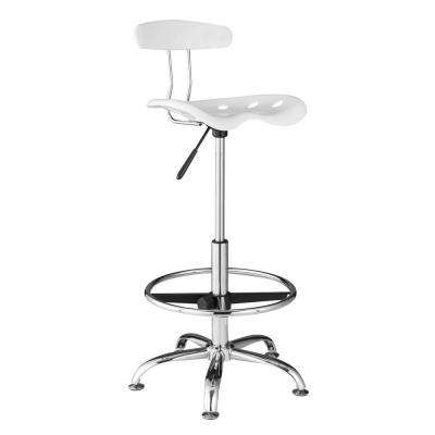 White Drafting Stool with Tractor Seat