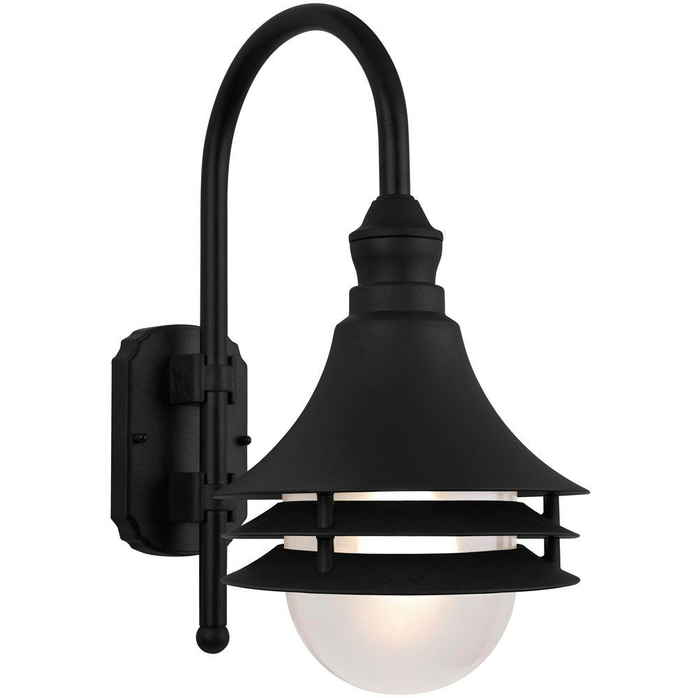Newport Coastal Black Outdoor Batten Nautical Exterior Light Sconce