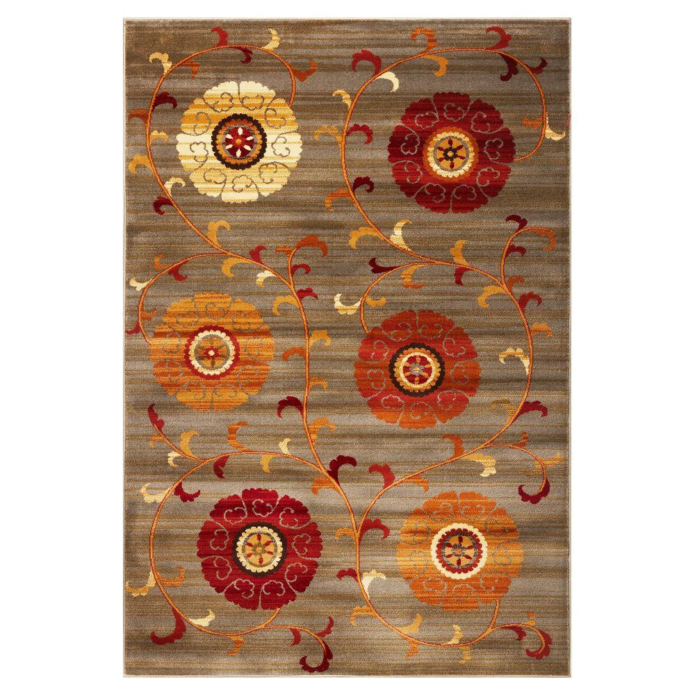 Kas Rugs Turning Leaves Slate 7 ft. 10 in. x 9 ft. 10 in. Area Rug