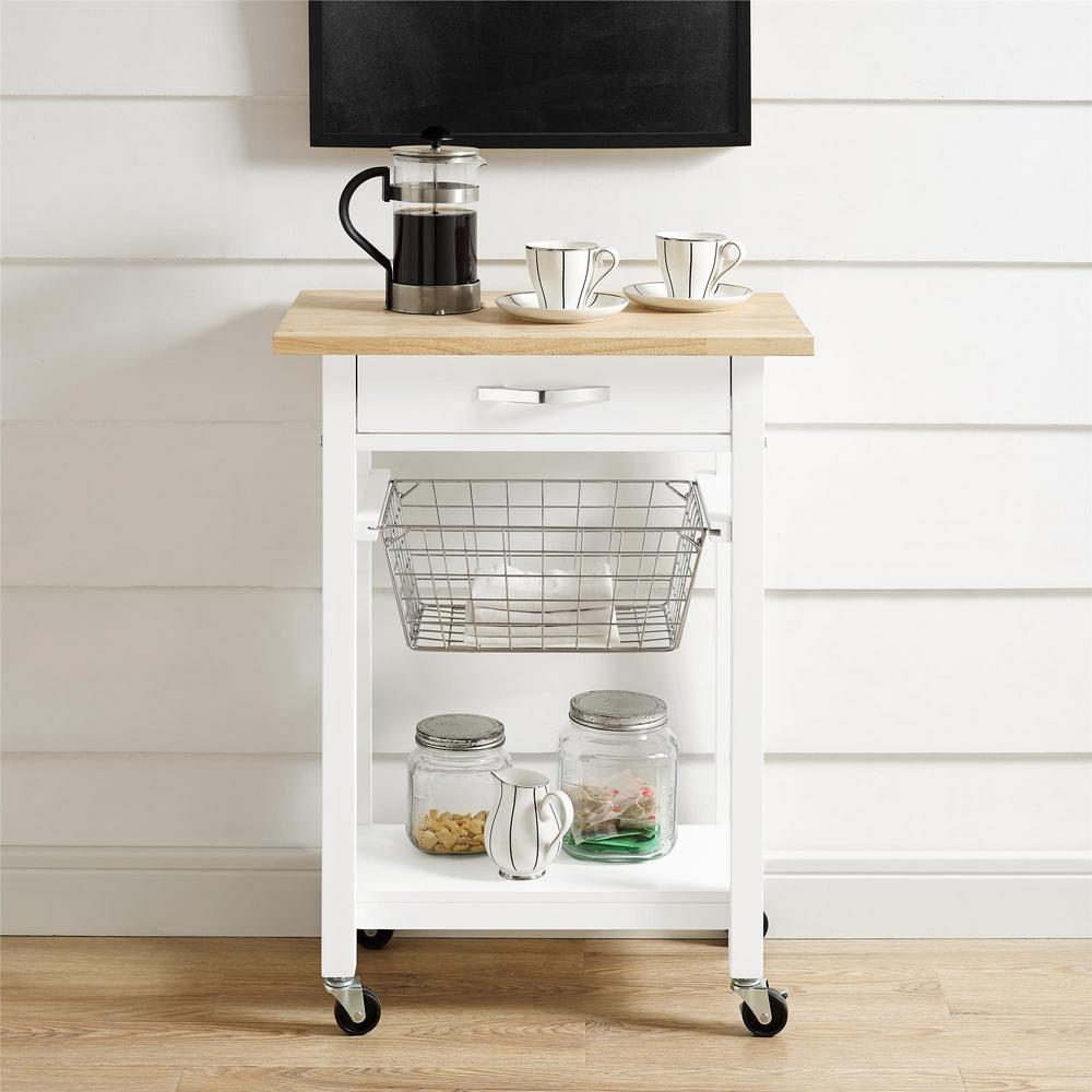 Keli White Multi-Functional Cart with Butcher Block Top