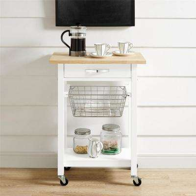 Keli White Multi-Functional Cart with Butcher Block Top