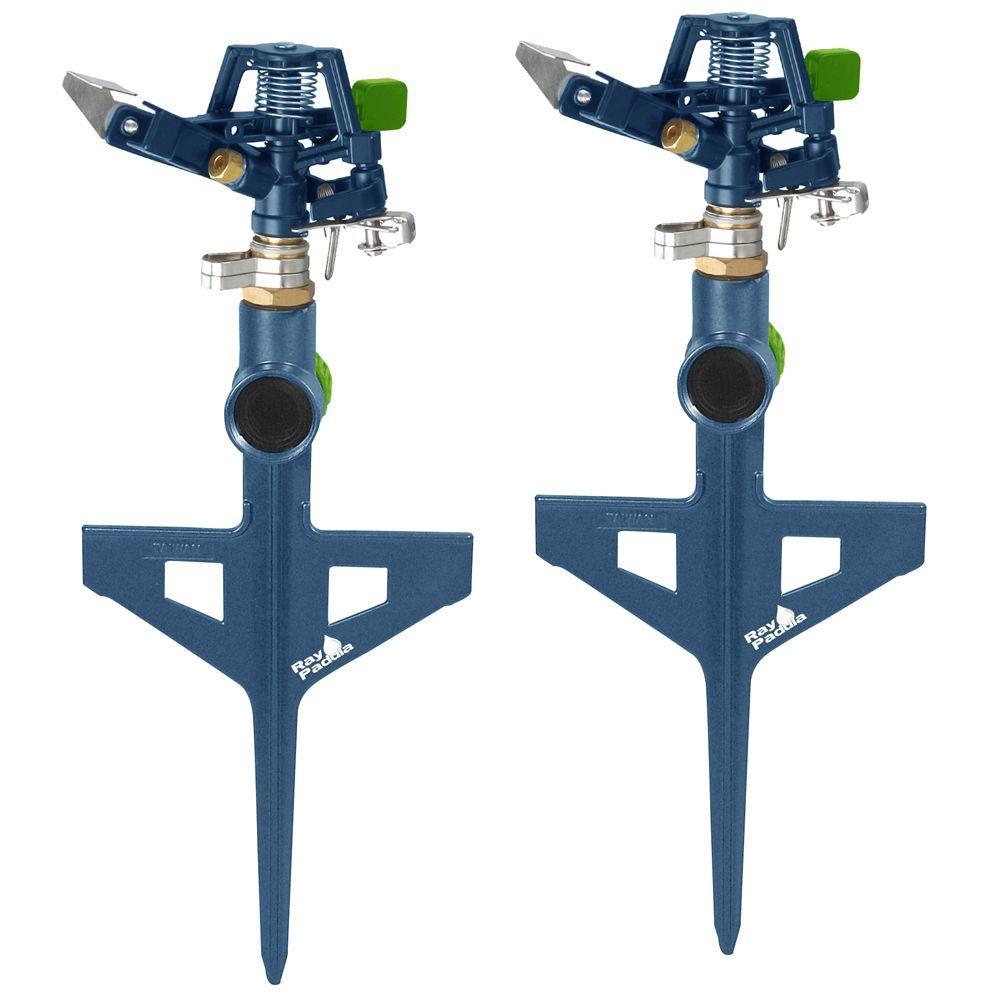 Metal Pulsating Sprinkler on In-Series Step Spike (2-Pack)
