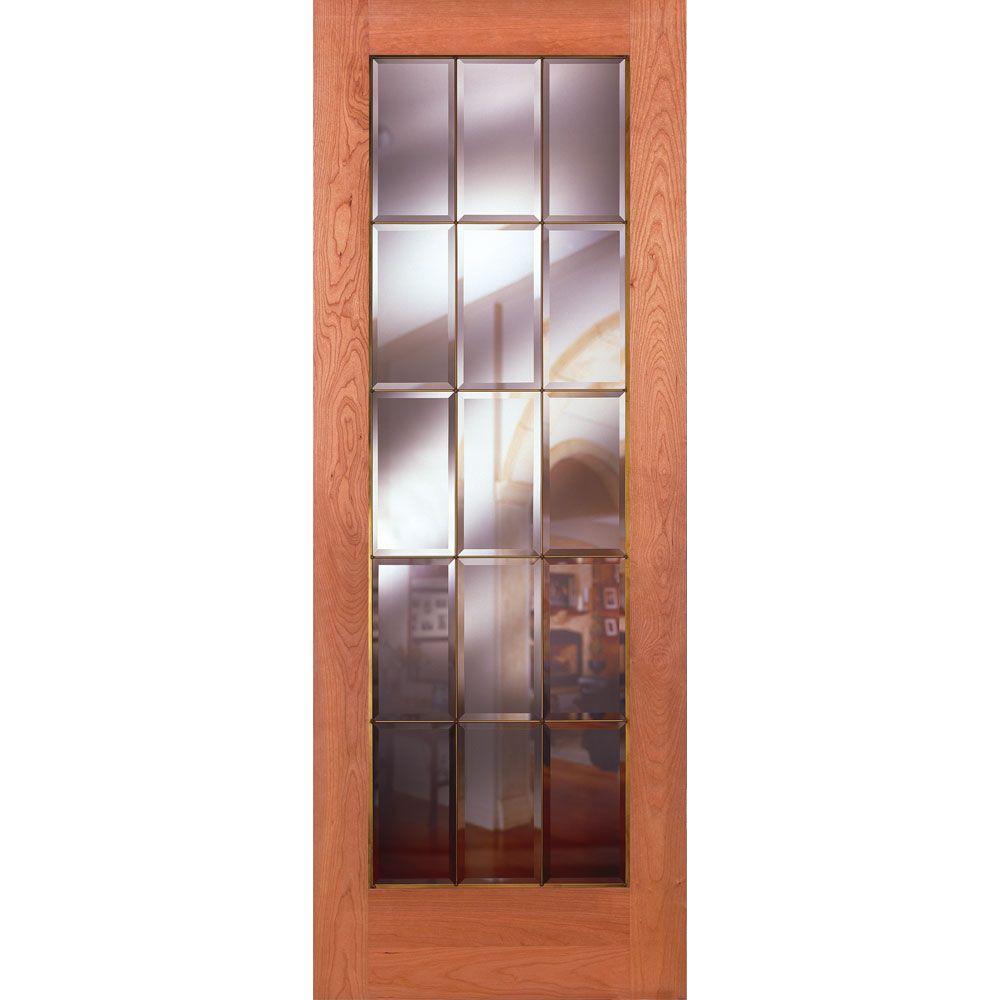 Feather River Doors 32 in. x 80 in. 15 Lite Unfinished Cherry Clear Bevel Brass Woodgrain Interior Door Slab