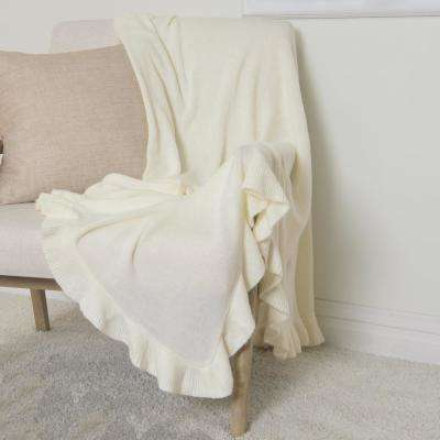 Ruffle Border Ivory Acrylic Throw