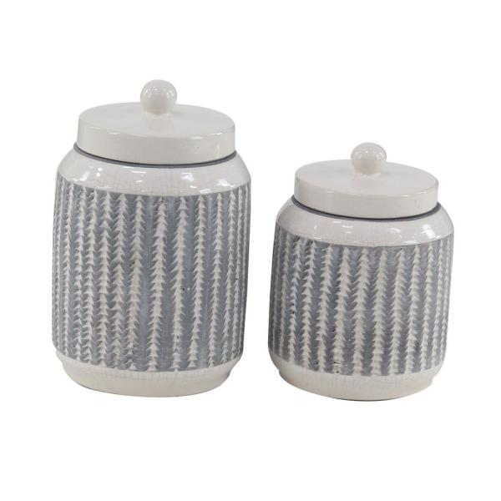 Medium White Gray Cylindrical Ceramic Jar Decor Set of 2: 6.70 in. x 10.55 in., 6.35 in. x 8.60