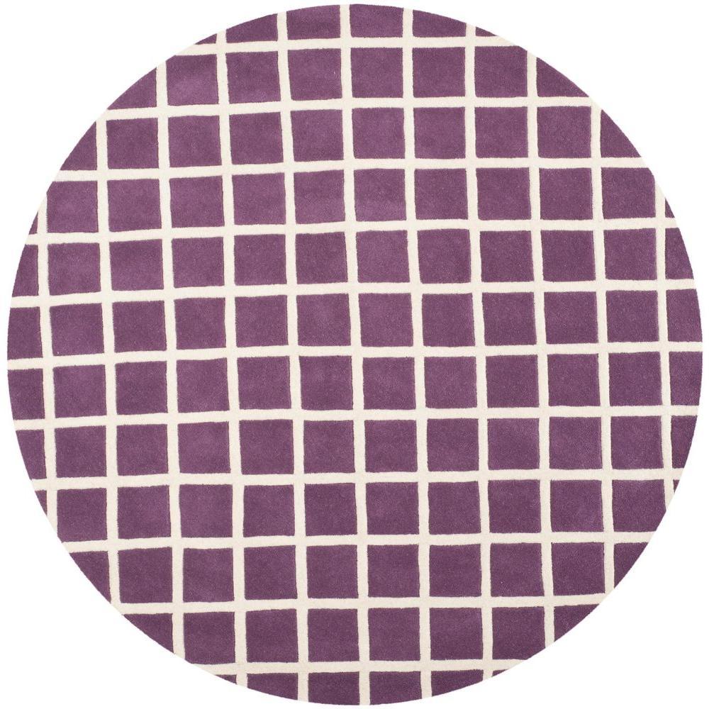 Purple Rug 2 Ft: Safavieh Chatham Purple/Ivory 7 Ft. X 7 Ft. Round Area Rug
