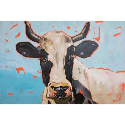 "24 in. x 36 in. ""Modern Moo"" by Milo Printed and Painted Canvas Wall Art"