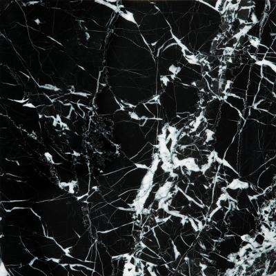 Marble Black and White Polished 12.01 in. x 12.01 in. Marble Floor and Wall Tile