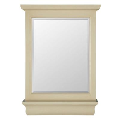 23 in. W x 32 in. H Framed Rectangular Beveled Edge Bathroom Vanity Mirror in Antique White