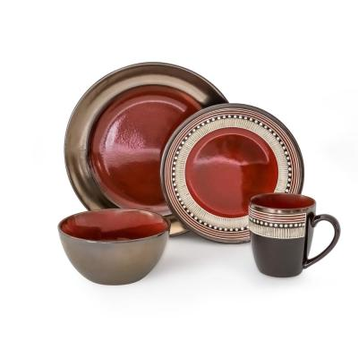 Mayflower 16-Piece Casual Red Porcelain Dinnerware Set (Service for 4)
