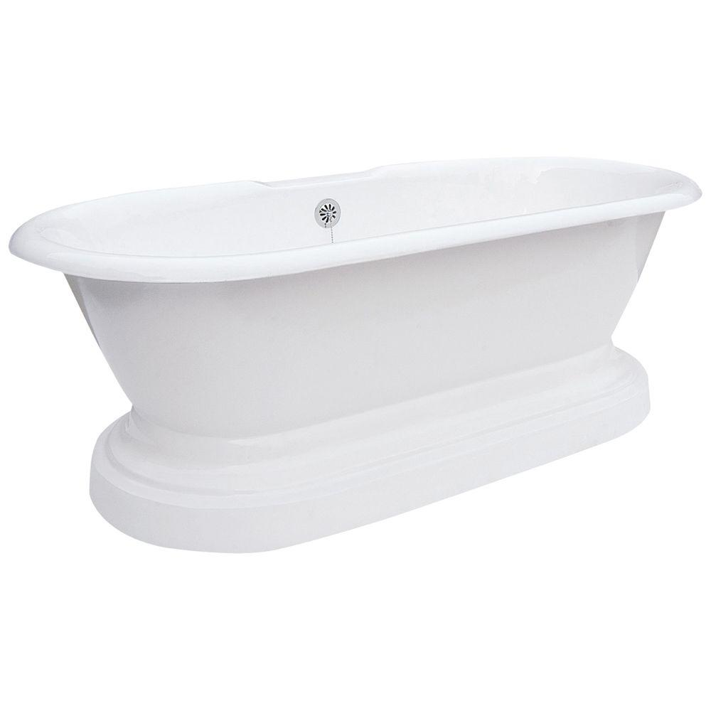 Elizabethan Classics 5 ft. 7 in. Cast Iron Dual Tub on Plinth Rim Faucet Holes in White