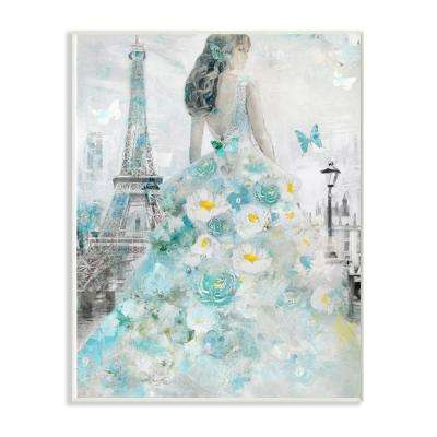 "10 in. x 15 in. ""Parisian Woman with Butterfly and Blue Floral Dress"" by Artist Main Line Art & Design Wood Wall Art"