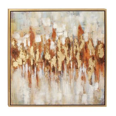 "39 in. x 39 in. ""Color Field Art"" Painted Framed Canvas Wall Art"