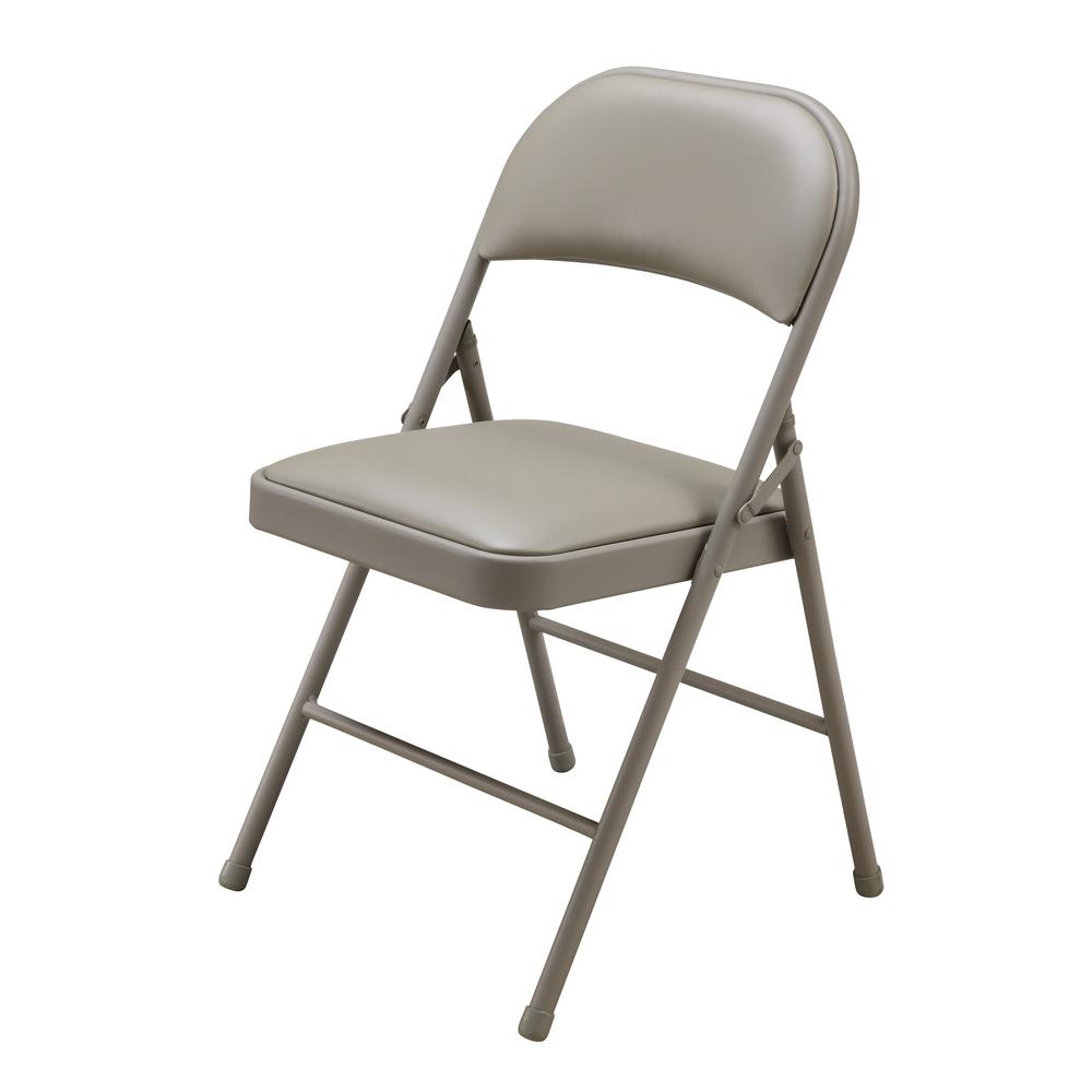 Beige Vinyl Seat Stackable Folding Chair Fc007b001a The Home Depot