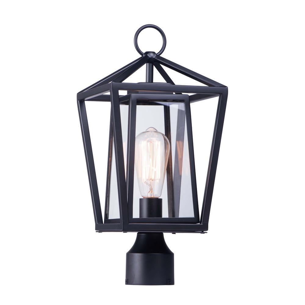 Artisan 8 in. Wide 1-Light Outdoor Black Post Light