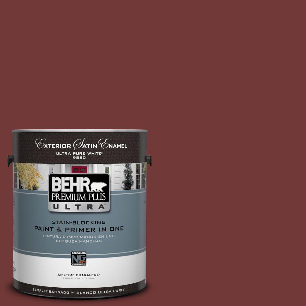 BEHR Premium Plus Ultra 1-Gal. #UL110-1 Tuscan Russet Satin Enamel Exterior Paint, Reds/Pinks