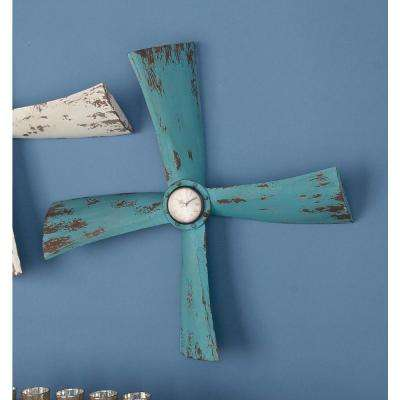 22 in. x 22 in. Distressed Blue Iron Propeller Wall Clock