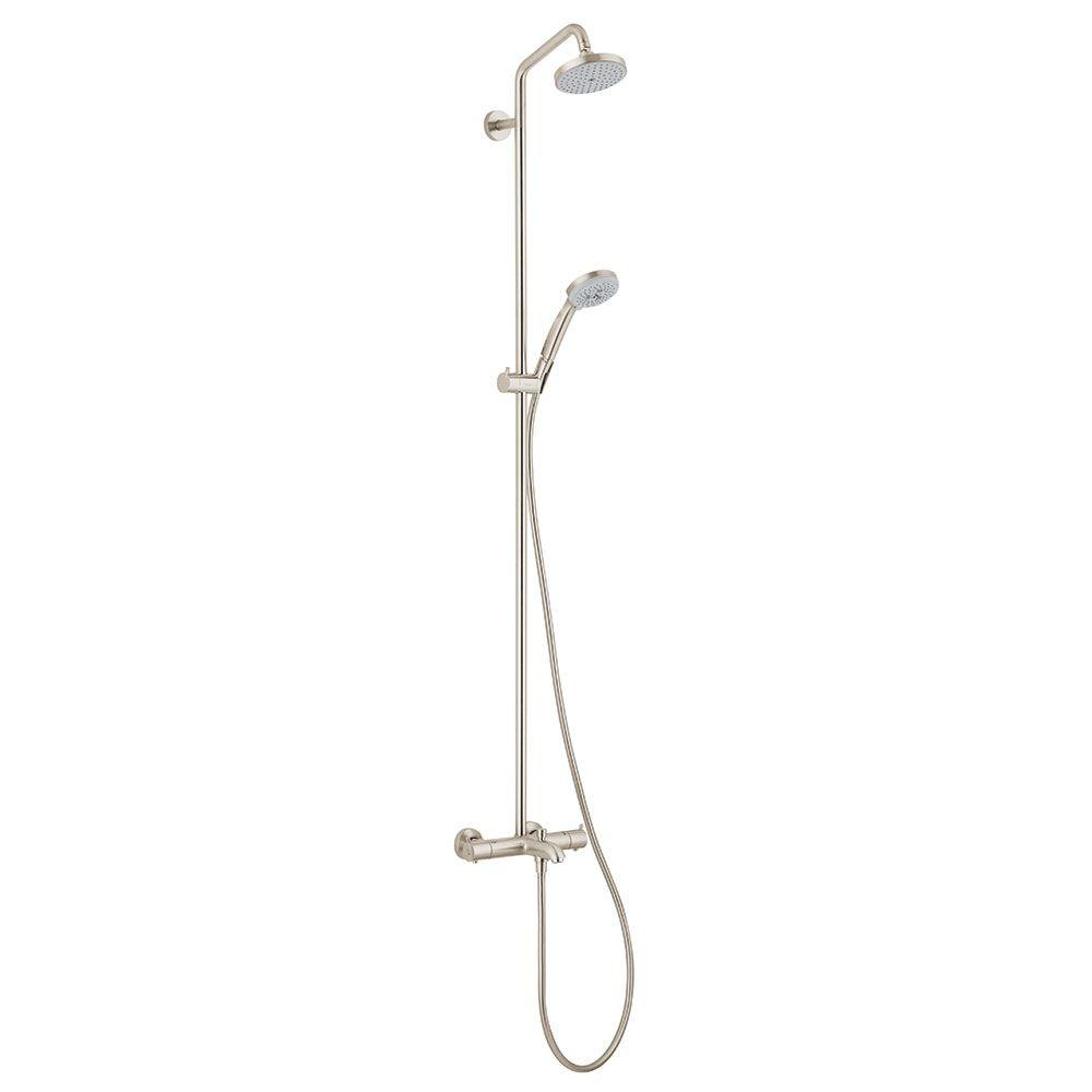 Hansgrohe Croma 4-Spray Hand Shower and Showerhead Combo Kit in Brushed Nickel