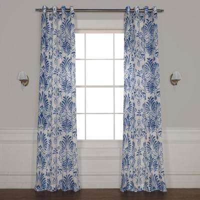 Xenia Blue Grommet Printed Sheer Curtain - 50 in. W x 108 in. L