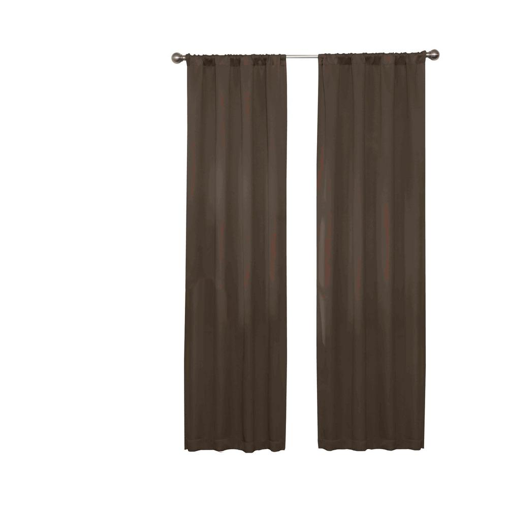 Eclipse Darrell Blackout Window Curtain Panel in Chocolate - 37 in. W x 63 in. L