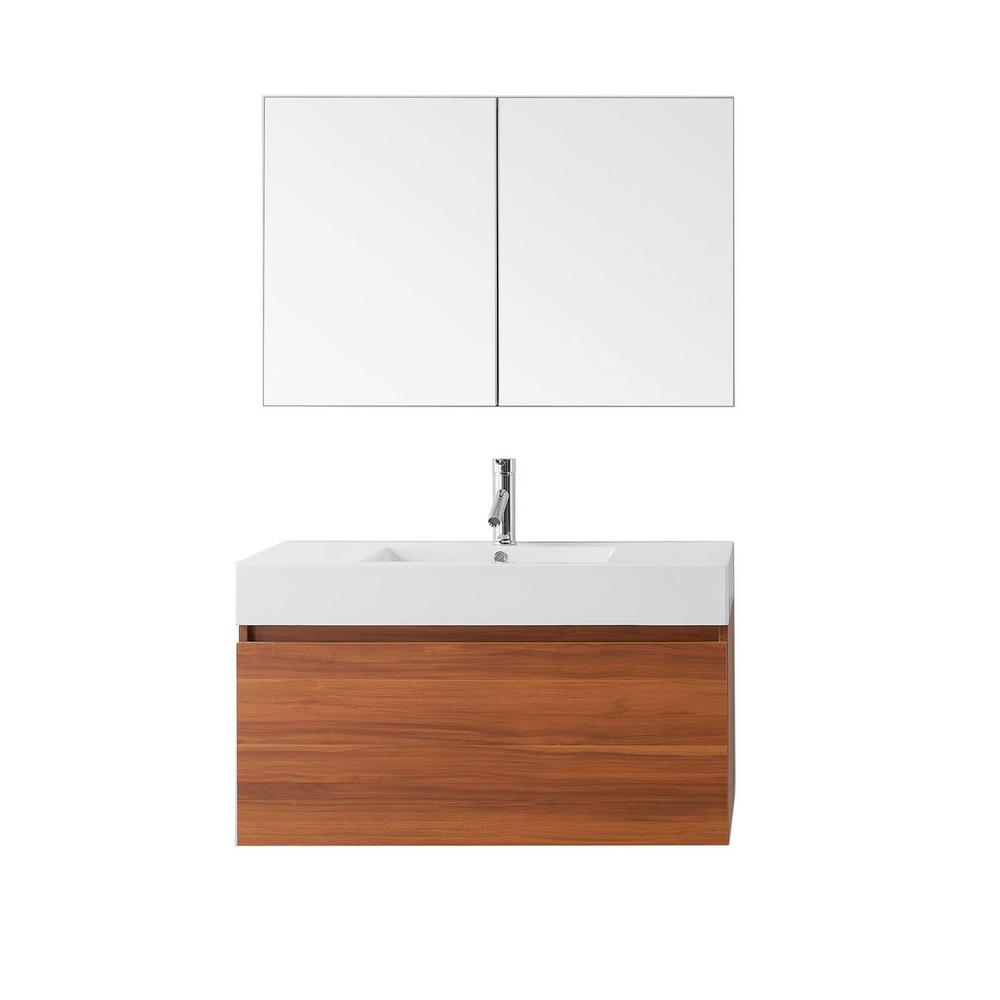 Zuri 39.37 in. W Vanity in Plum with Poly-Marble Vanity Top