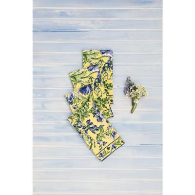 """Wildflower Meadow Yellow Floral 20"""" x 20"""" Napkins Set of 4"""
