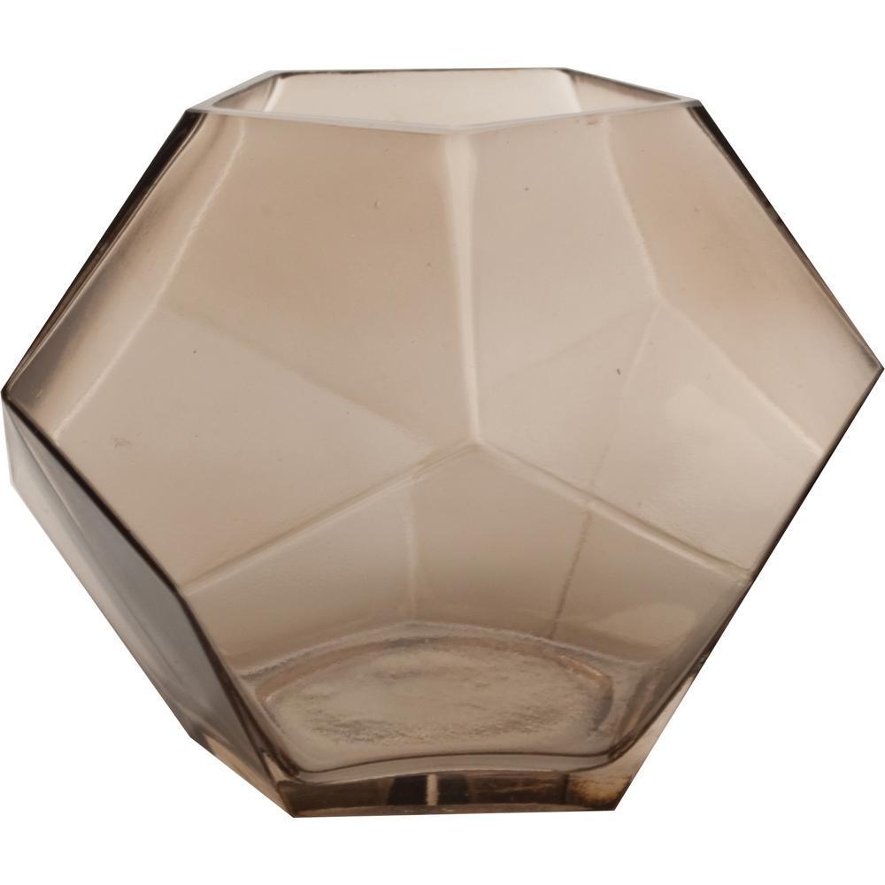 Mika 7.5 in. W x 6 in. H Smoke Glass Pentagon Prism Terrarium