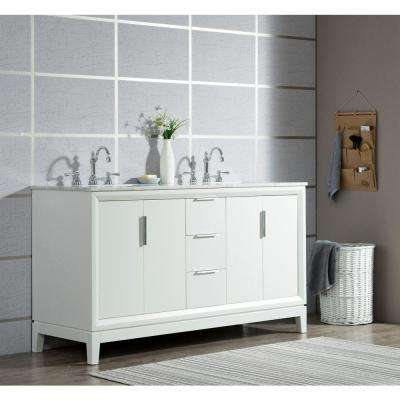 Elizabeth 60 in. Pure White With Carrara White Marble Vanity Top With Ceramics White Basins and Mirror and Faucet
