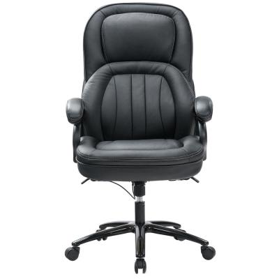 Black High Back Adjustable Faux Leather Executive Desk Computer Swivel Chair with Ergonomic Design for Lumbar Support