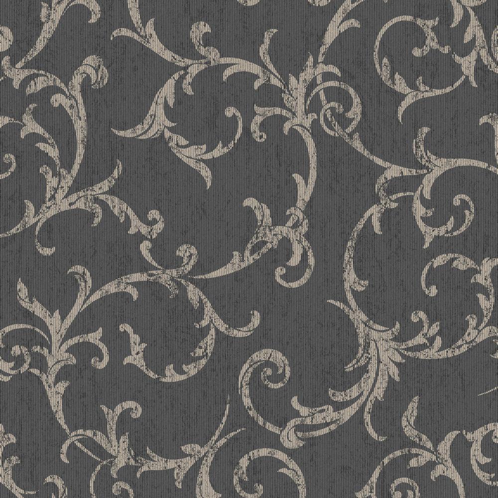 Graham Brown Empress Scroll Black Gold Removable Wallpaper Sample