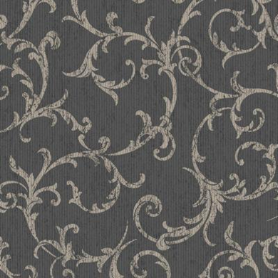 Empress Scroll Black/Gold Removable Wallpaper Sample