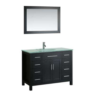 Bosconi 43.3 in. W Single Bath Vanity in Black with Tempered Glass Vanity Top in White with White Basin and Mirror