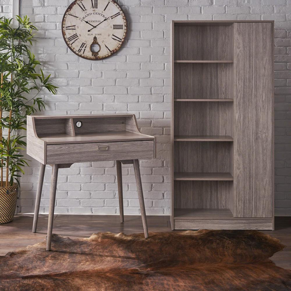Ellison mid century modern oak gray faux wood home office desk and shelf set