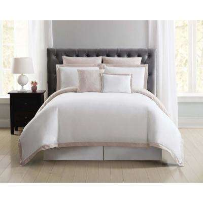Everyday Hotel Border Blush 7 Piece Full / Queen Duvet Set