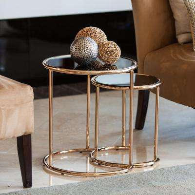 Rose Gold Metal Frame and Black Glass-top Nested Round End Tables (Set of 2)