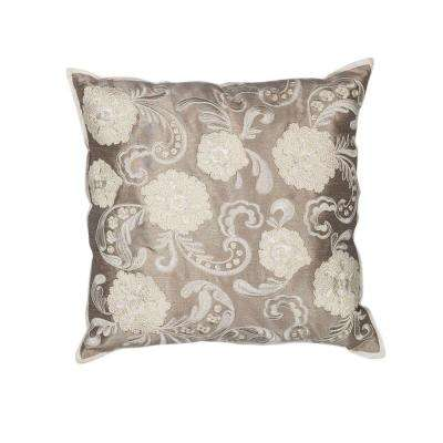 Tonal Floral Silver/Cream Decorative Pillow